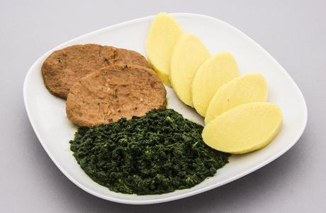 Robi se špenátem a bramborovým knedlíkem